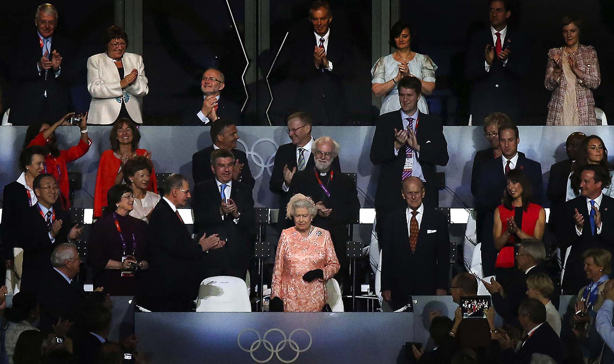 Britain's Queen Elizabeth II, center, during the opening ceremony of the 2012 Summer Olympic Games in London.