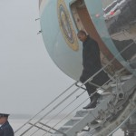 Obama, arriving at Andrews Air Force Base, Maryland.