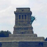 Even Lady Liberty is hiding from Sandy. LOL