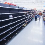At Walmart, people rushed in to secure their food.