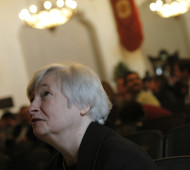 Yellen, vice chair of the Board of Governors of the U.S. Federal Reserve System, speaks to attendee prior to addressing University of California Berkeley Haas School of Business in Berkeley