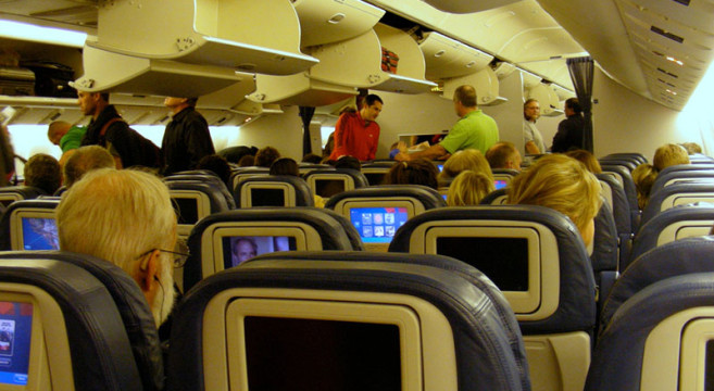 Getting seated for the 15-hour flight LAX-SYD
