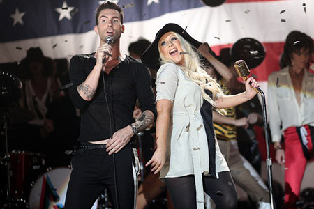 """Maroon 5 Video Shoot For """"Moves Like Jagger"""" With Christina Aguilera"""